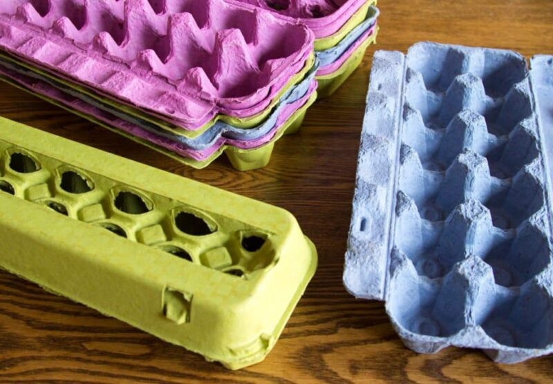 Full Dozen Windowed Egg Cartons - Pink - Blue - Lime Green - Multicolor