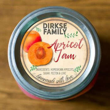 Apricot Jam Label - Custom Apricot Canning Label - Apricot Jelly, Preserves