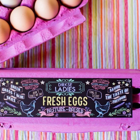 Authentic Heirlooms – Custom Chalkboard Egg Carton Labels – Customizable Egg Carton Label