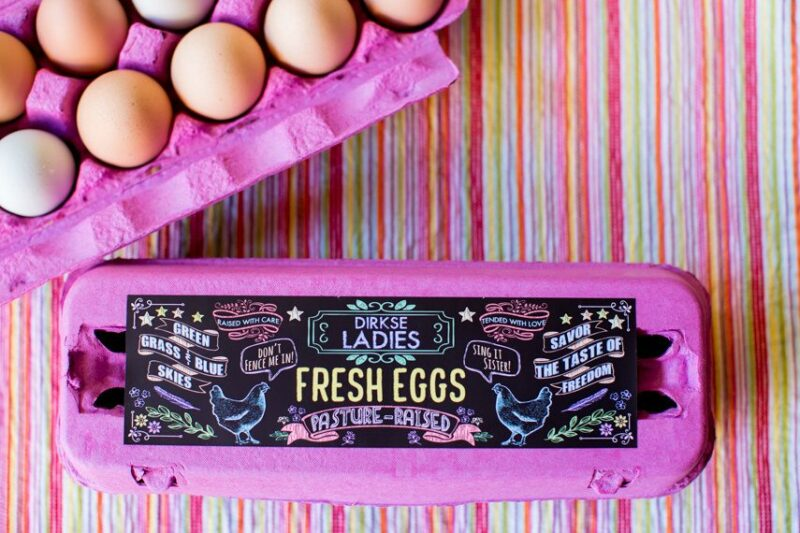 Authentic Heirlooms - Custom Chalkboard Egg Carton Labels - Customizable Egg Carton Label