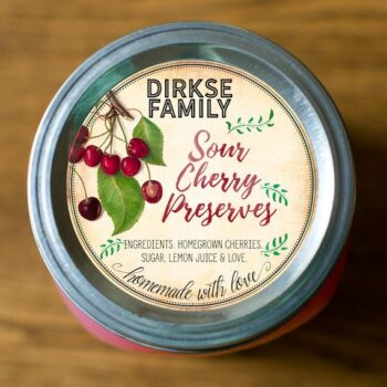 Custom Cherry Preserves Label