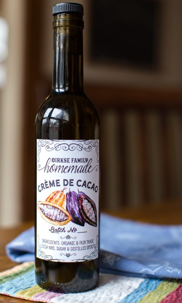 custom crème de cacao labels