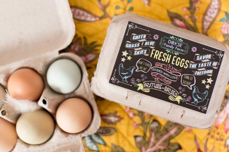 Customizable Chalkboard Style Egg Carton Label - Fresh Eggs - Pasture Raised