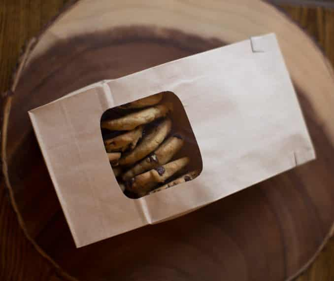 kraft bakery bags with window - fold over seal