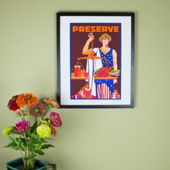 Preserve Poster - Justice Holding Scales of Fresh Produce