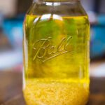 Making Limoncello - Lemon Zest in Alcohol - Bright Yellow