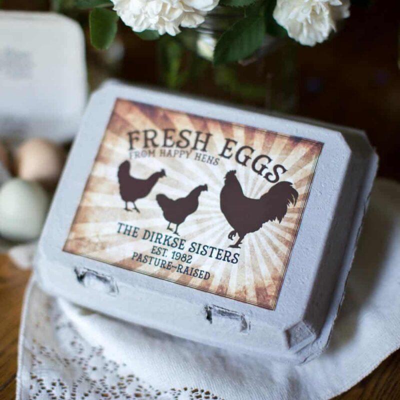 Vintage Dozen Rooster Egg Carton Label