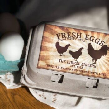 Half Dozen Rooster Sunrise Egg Carton Label