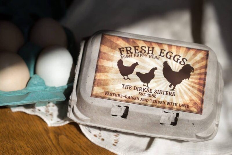Half Dozen Rooster Sunrise Egg Carton Label