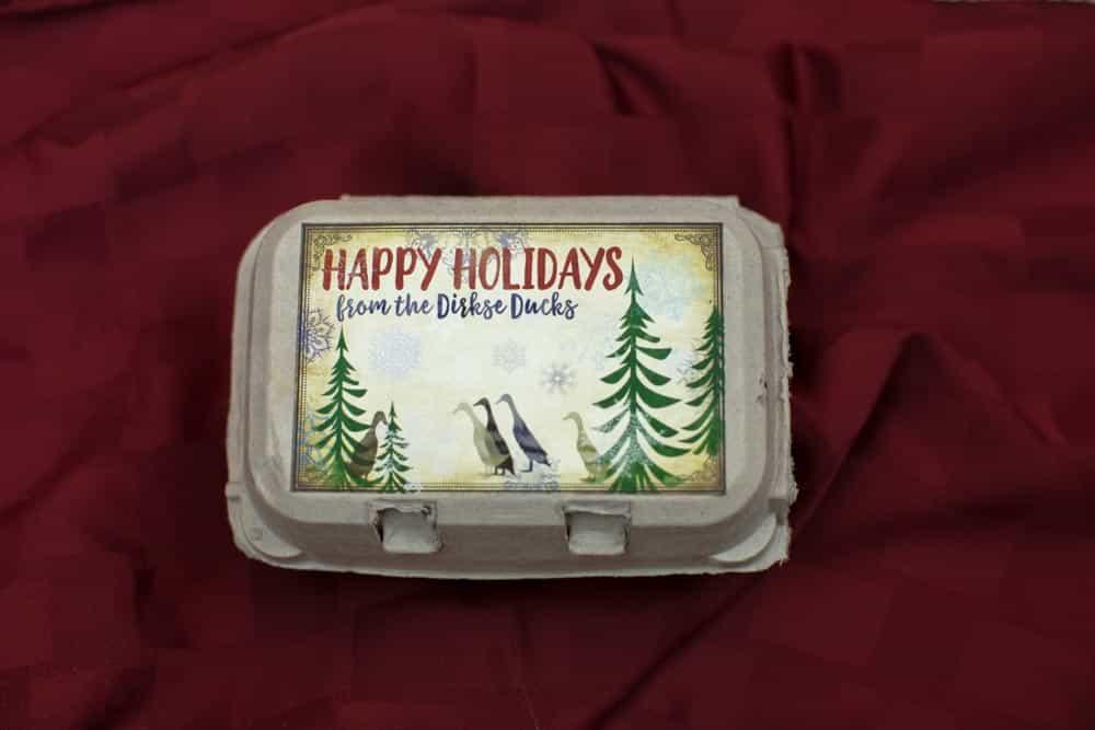 Happy Holidays Duck Egg Carton