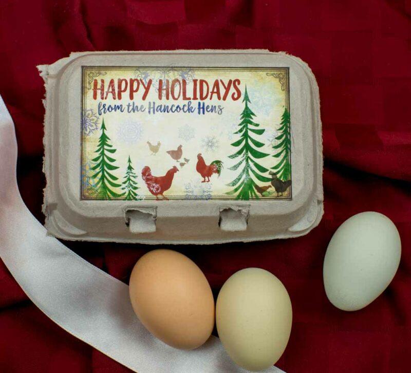 Happy Holidays Egg Carton Label Watercolor