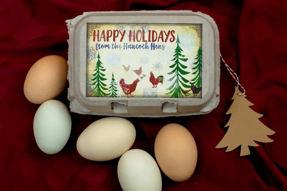 Happy Holidays Egg Carton Label