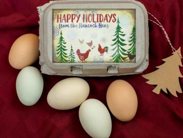Merry Christmas Egg Carton Label Watercolor