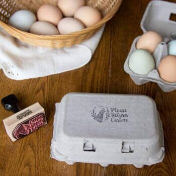 Please Return Carton Egg Carton Stamp - Chicken with Wreath