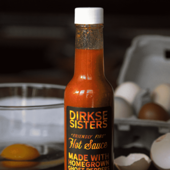 Customizable Hot Sauce Label black with Flames