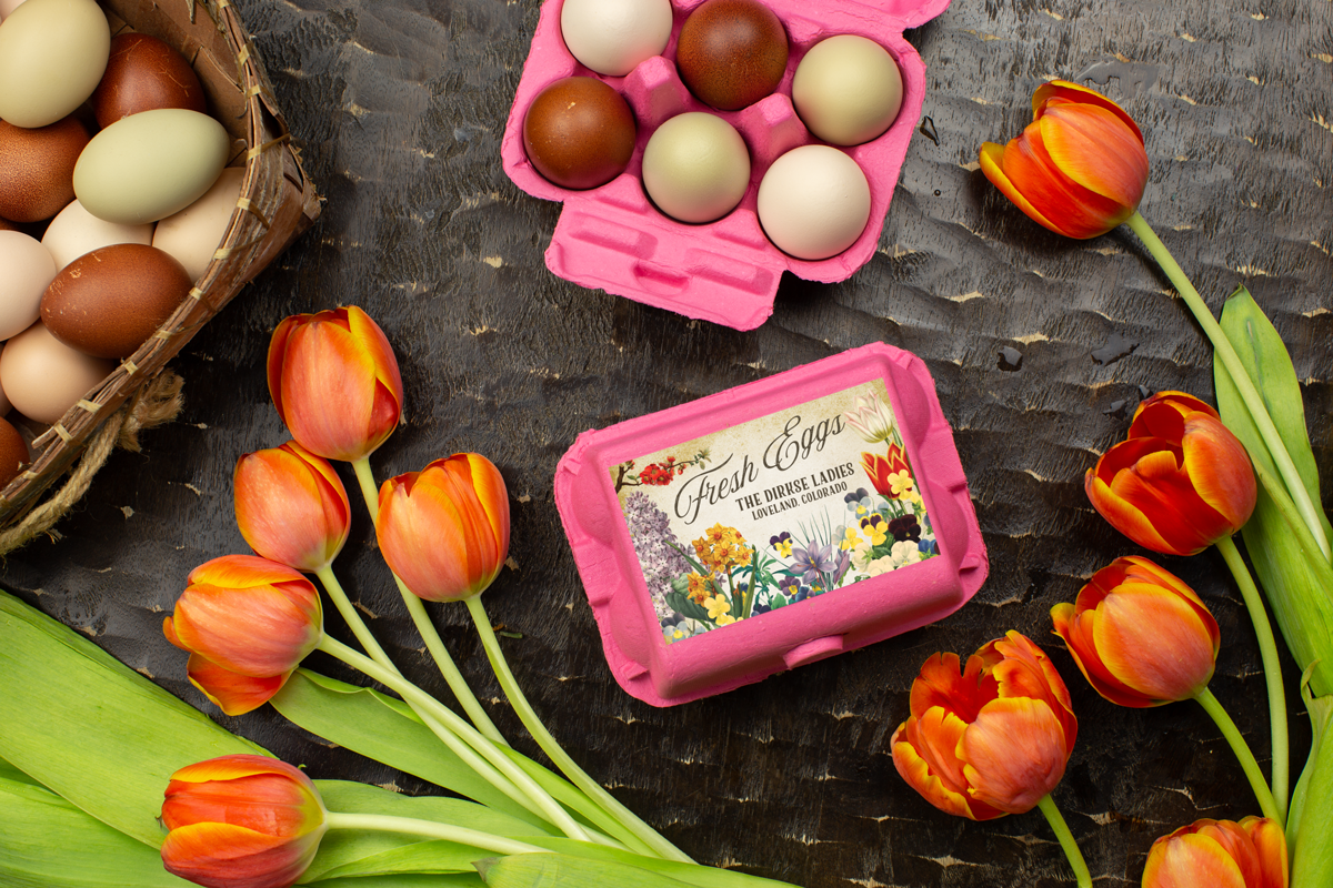 Half Dozen - Spring Flowers Egg Carton Labels - Customizable