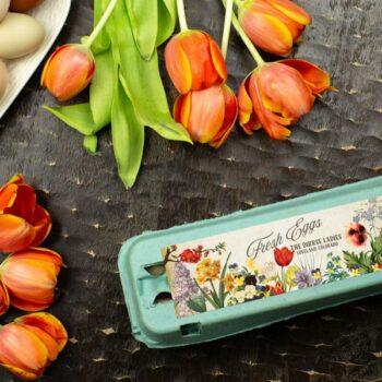 Spring Flowers Egg Carton Labels - Customizable - One Dozen
