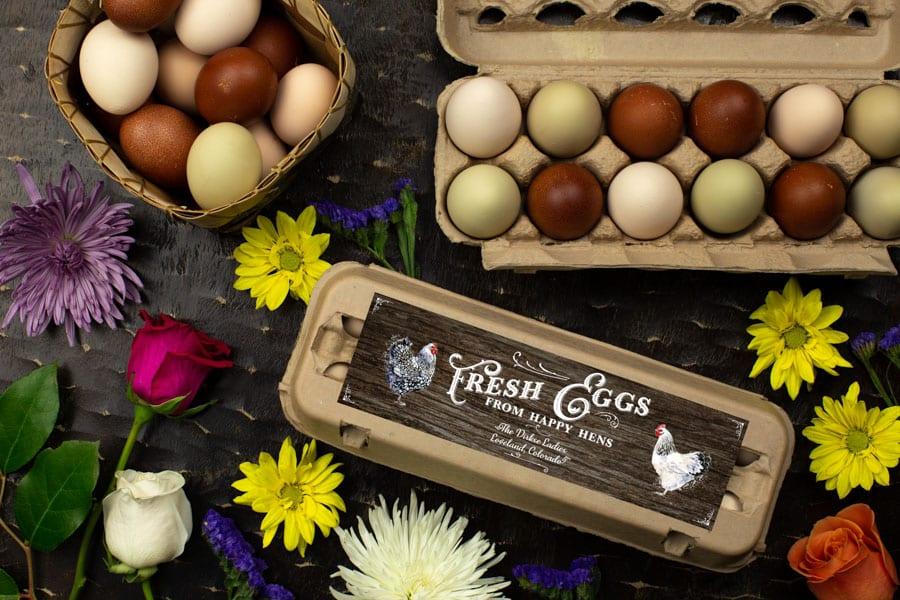 Wood Grain Egg Carton Labels - Customizable - One Dozen