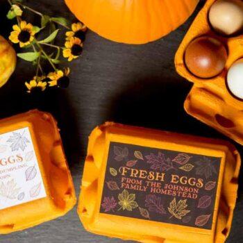 Customizable Egg Carton Labels for Autumn