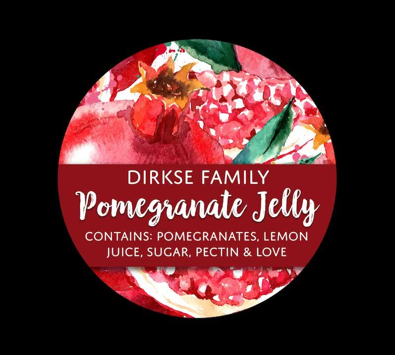 Customized Pomegranate Canning Label - Watercolor Style