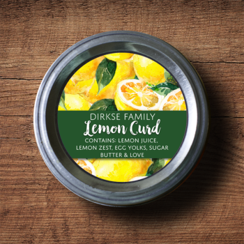 Customized Lemon Marmalade, Lemon Curd Label - Watercolor Style