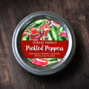 Customized Label for Pickled Peppers - Watercolor Mason Jar Label