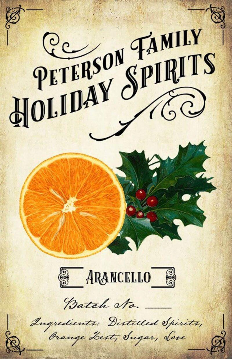 Holiday Arancello Label - Orange Liqueur